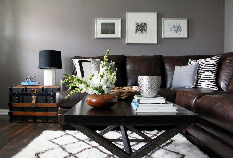 Gray Walls Brown Couch With Images Modern Rustic Living Room