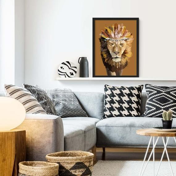 Bohemian Lion Art Print Lion Painting Framed Lion Poster Boho Animal Prints Living Room Art Lion Painting Lion Art