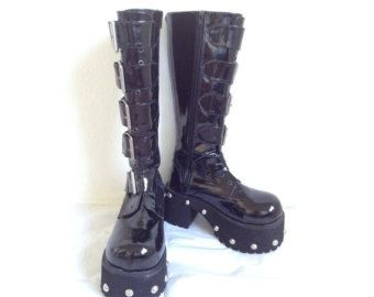 90s Tall unisex studded grunge goth hair metal cyber industrial chunky black platform boots (7) / (9)