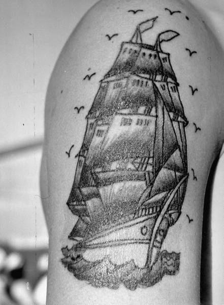 vintage sailor ship tattoo