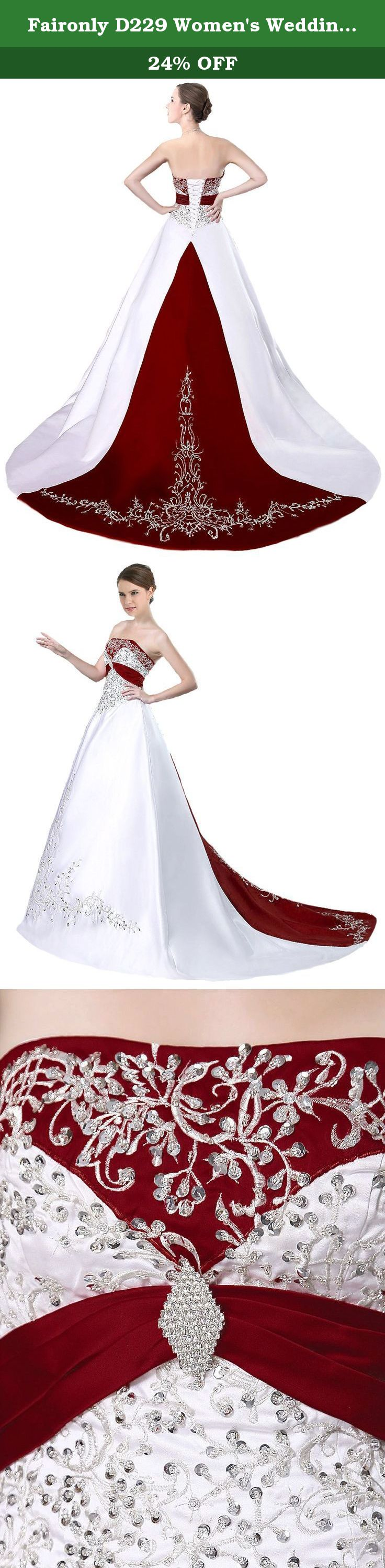Wedding dresses for small bust  Faironly D Womenus Wedding Dress Bridal Gown XSmall White Red