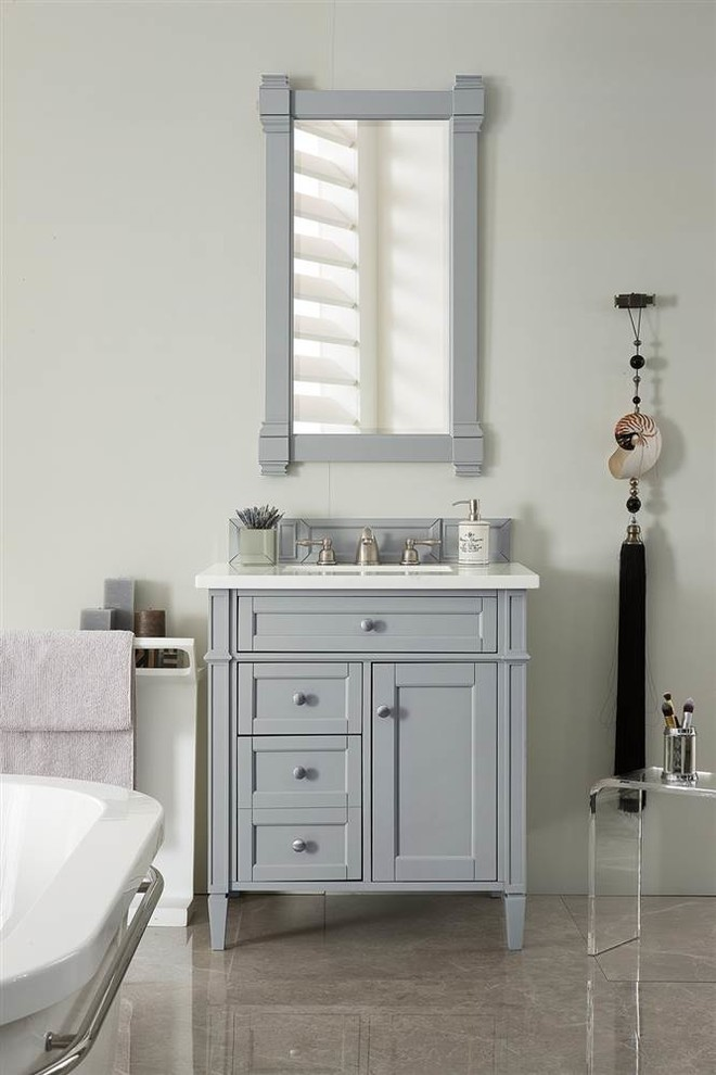 30 In Single Vanity In Urban Gray Traditional Bathroom
