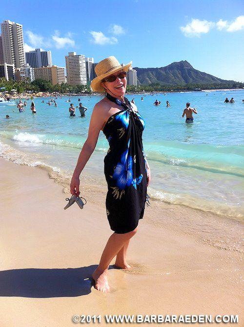 Barbara in Honolulu on Christmas Day, 2011 You can see Diamond Head