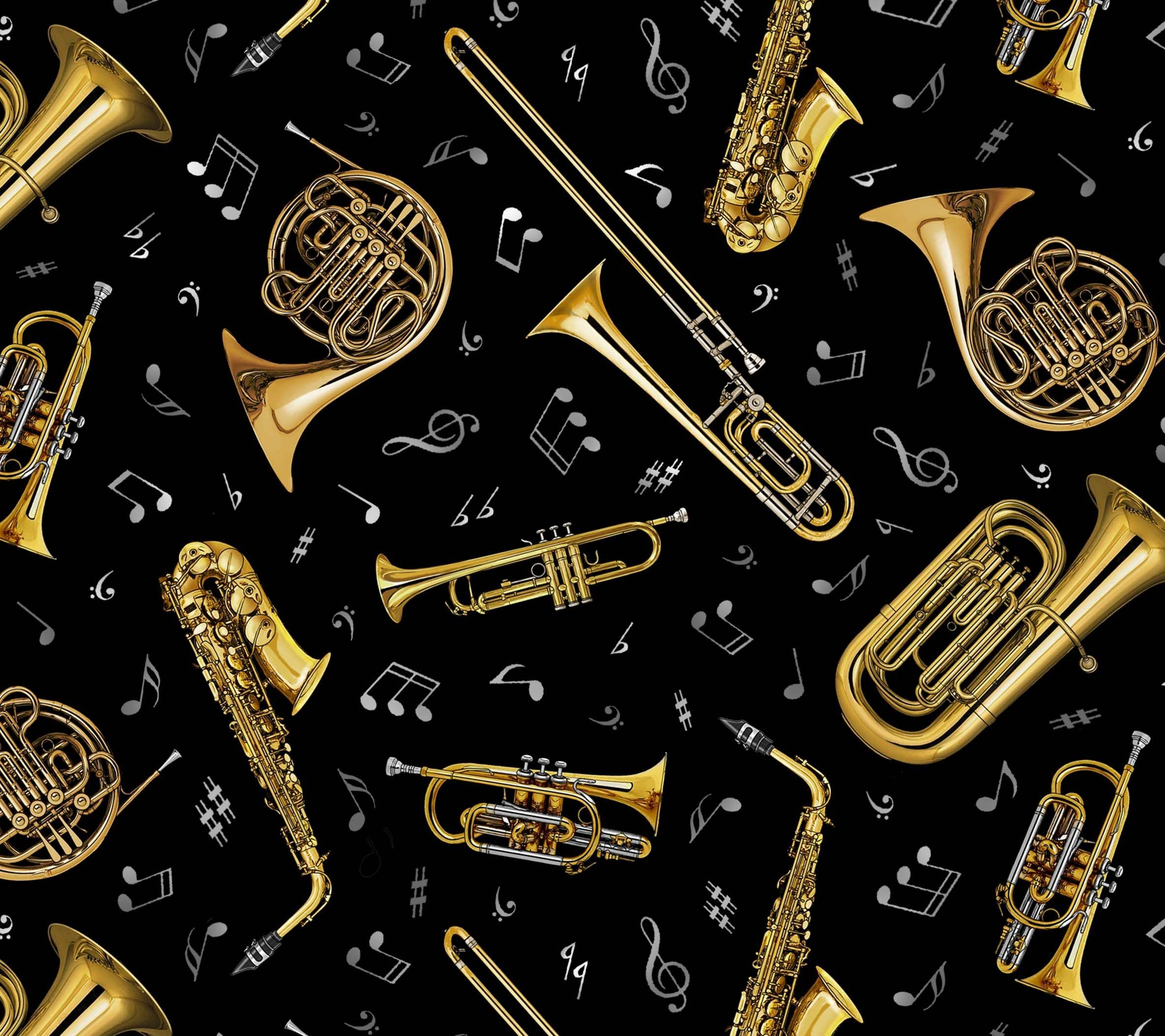 51 Hd Trombone Wallpapers On Wallpaperplay Trombone Novelty Fabric Music Notes