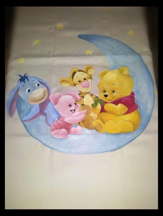 Copripiumino Winnie The Pooh.Copripiumino Dipinto A Mano Dipintosustoffa Winniethepooh