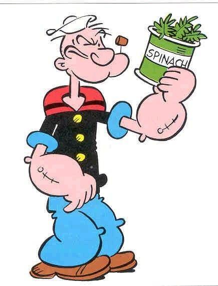 Popeye der Seemann schöpfte seine Kraft aus Spinat