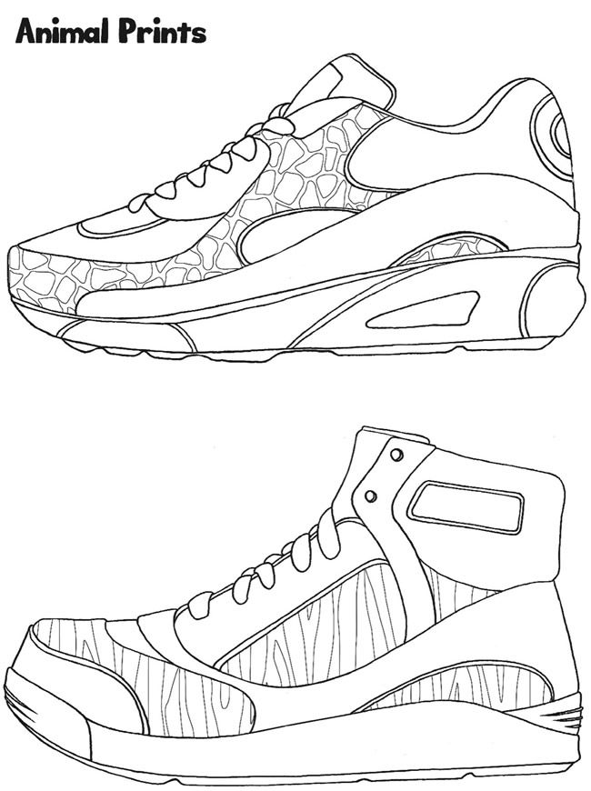 Sneaker Designs Coloring Book | Dover Publications | Shoes Coloring ...