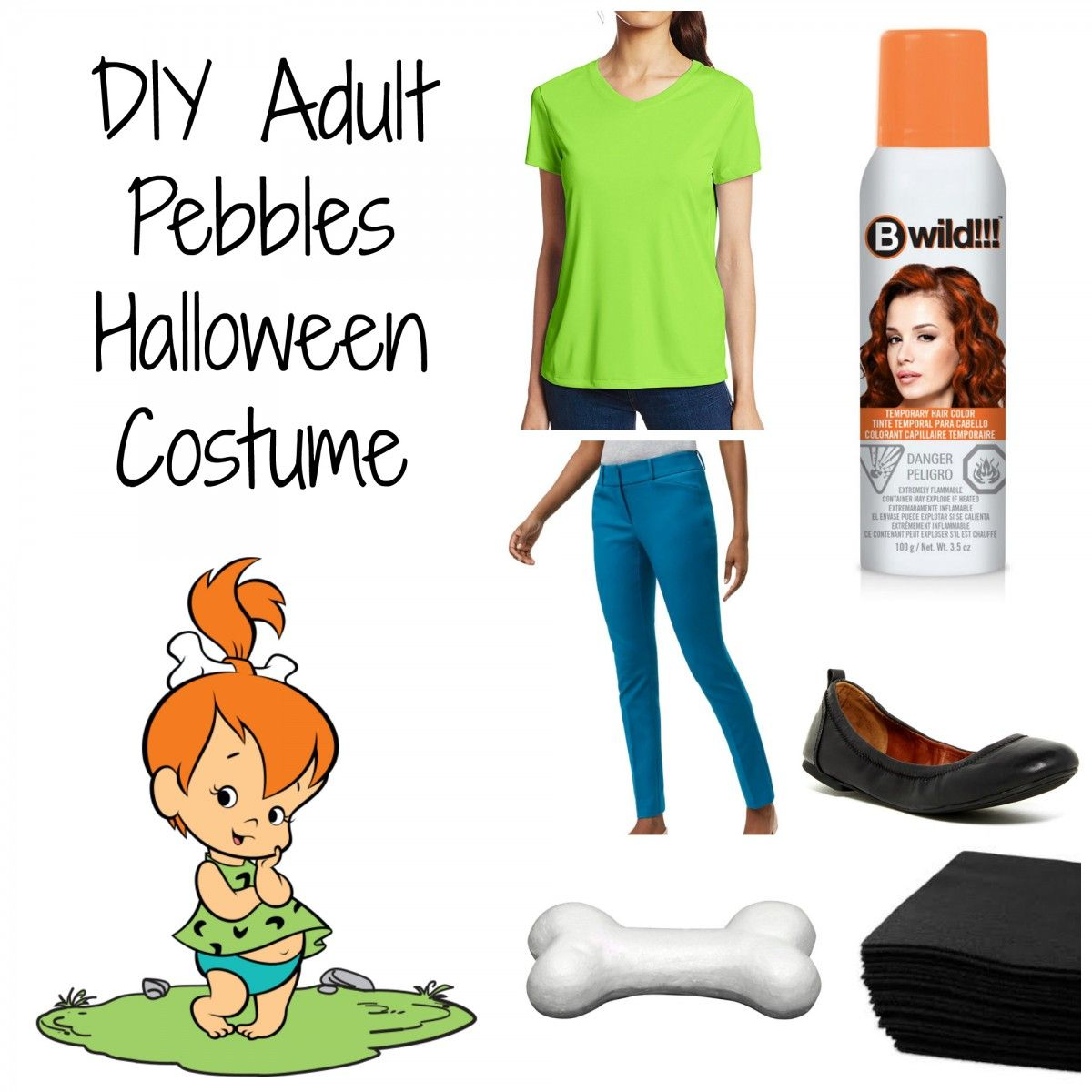 DIY Adult Pebbles Halloween Costume - Her Heartland Soul #pebblescostume