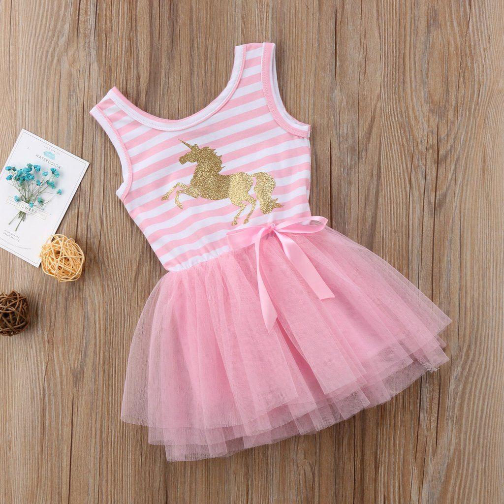 410b266651329 2018 Pretty Little Girl Baby Unicorn Dress Summer Sleeveless Striped ...