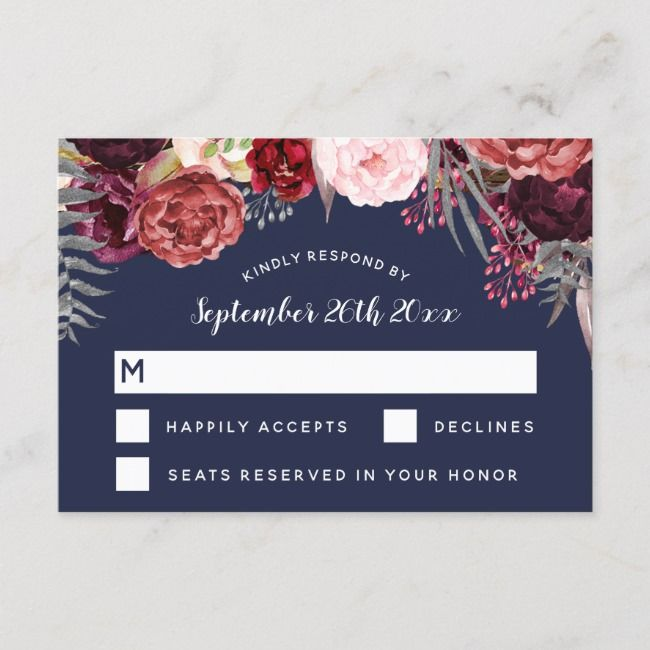 Navy Fall Marsala Blush Peony Wedding RSVP Cards