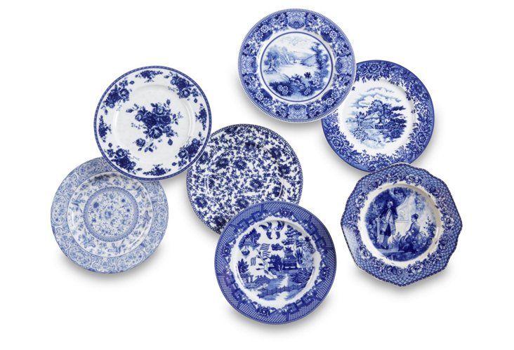 White Porcelain Ceramic Door Finger Push Plates Blue Clematis Design