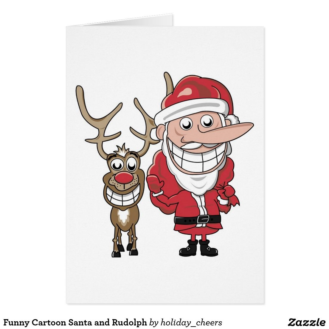 Funny Cartoon Santa and Rudolph