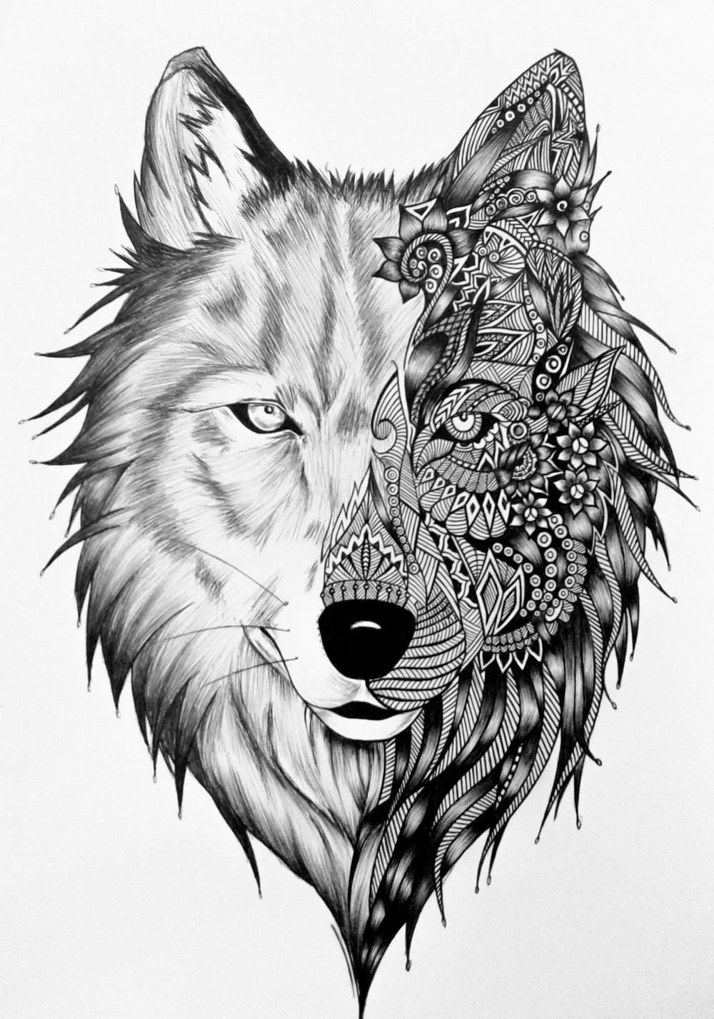 Desenho De Lobo Pesquisa Google Tatuagem Mandala Desenho De