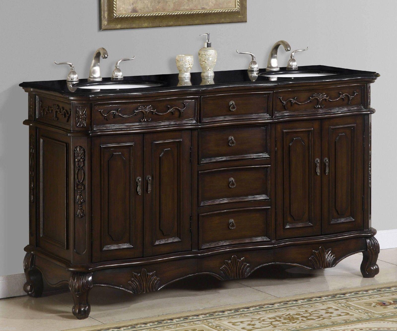 60 Inch Double Sink Vanity With Black Granite Top Item 1160 Ebay