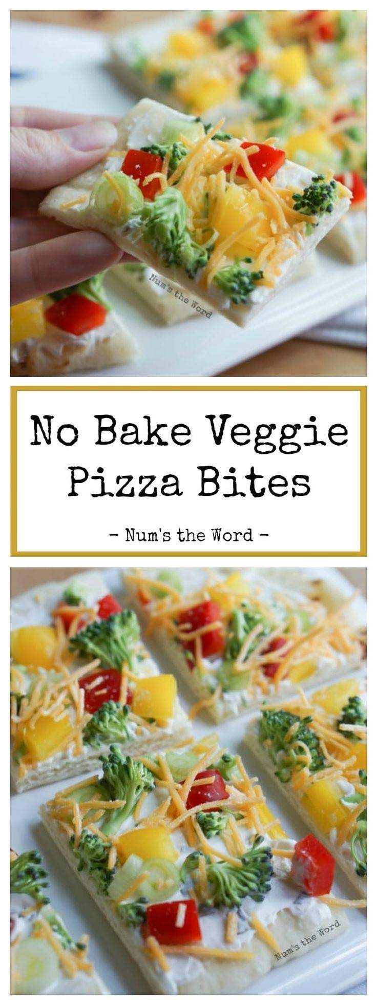 No Bake Veggie Pizza Bites make for the perfect party appetizer, snack or lunch on a hot summer day! Quick and easy with Naan or Flat Bread at the base!These No Bake Veggie Pizza Bites make for the perfect party appetizer, snack or lunch on a hot summer day! Quick and easy with Naan or Flat Bread at the base!