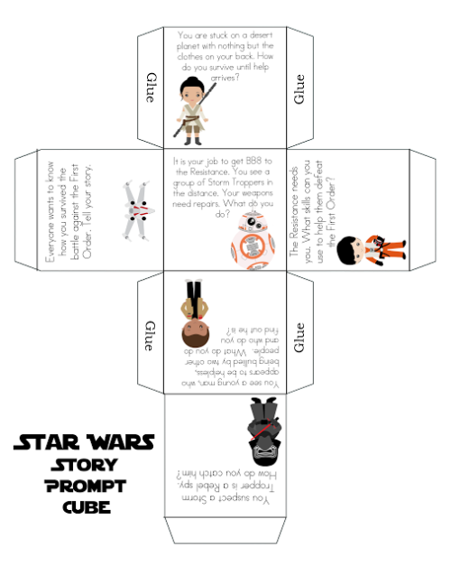 image relating to Star Wars Printable Activities called No cost Star Wars Printable Tale Dice Valentines Working day
