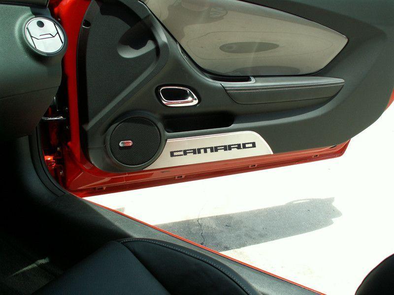 2010 2015 Camaro Door Panel Kick Plates Brushed Camaro 2pc