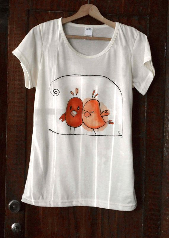 989ad42e85318 Hand painted T-shirt Birds in love. Paint by hand tee with cute ...