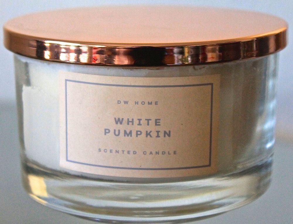 Dw Home Candle White Pumpkin Clear Glass Ball Cream Soy Wax Jar 3