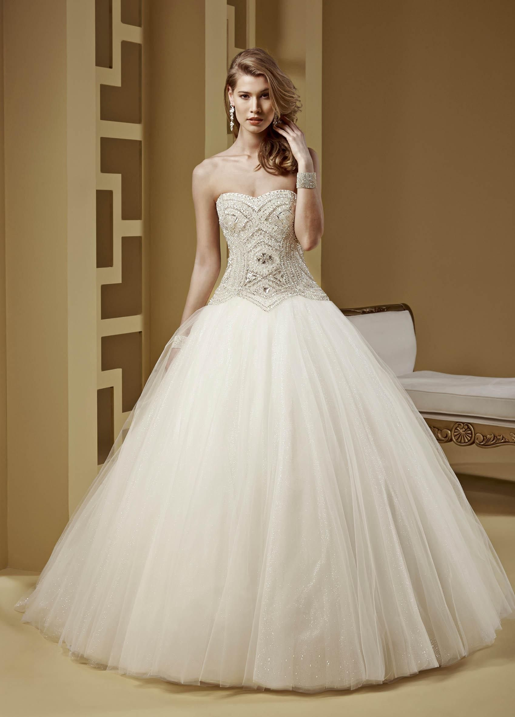 ball gown wedding dresses with train and bling