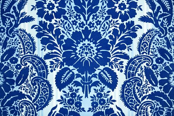 1970s Vintage Wallpaper Royal Blue Flocked By Kitschykoocollage 1800