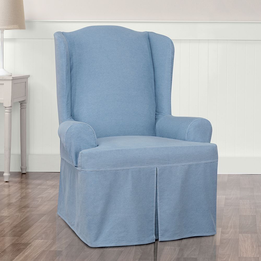 Sure Fit Authentic Denim Wing Chair Slipcover, Blue