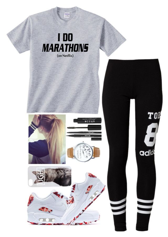 """""""I Do Marathons...on NETFLIX"""" by me-is-a-pizza ❤ liked on Polyvore featuring adidas Originals, NIKE and Stila"""