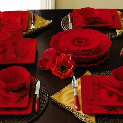 Image result for red poppy dinnerware : poppy dinnerware - pezcame.com