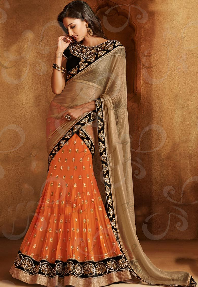 #Charming Combination Of Orange & Grey!!!  #Orange And Chikoo Georgette And Chiffon Saree designed with Zari,Hand Embroidery And Lace Border Work. As shown Black Velvet Blouse fabric is available which can be customized as per requirements.  INR 9228.00 Only With An Exclusive Discount Shop Now@ http://tinyurl.com/p5bsy2p