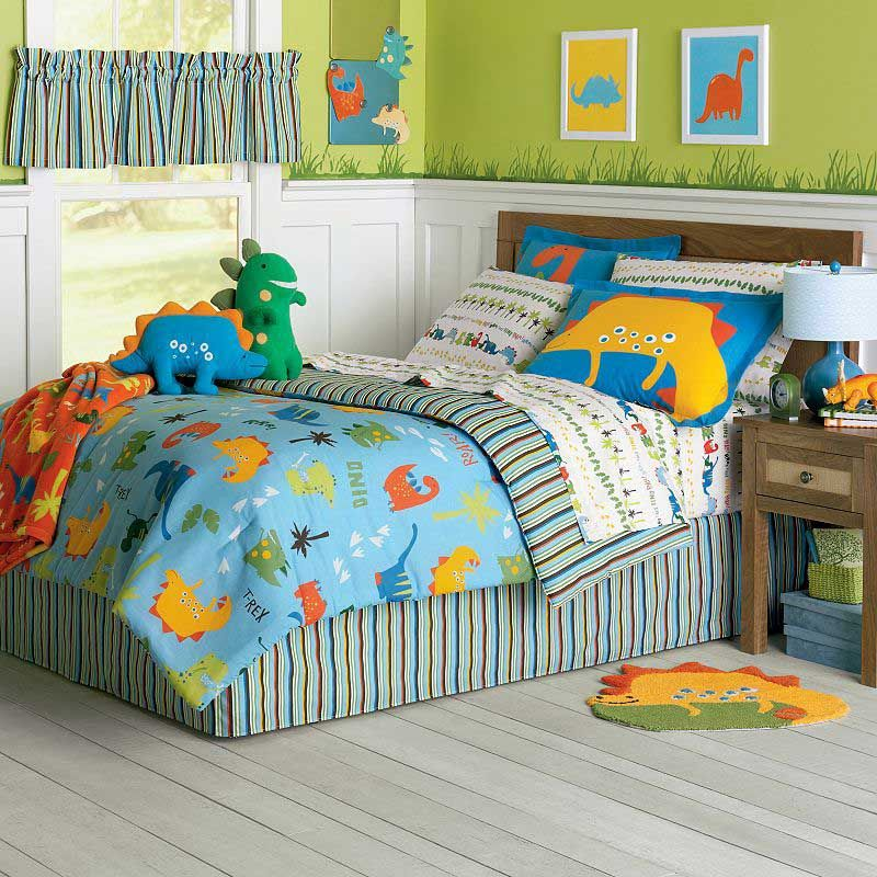 Can dinosaur bedding work for a girl 39 s bedroom dinosaur for Dinosaur themed kids room