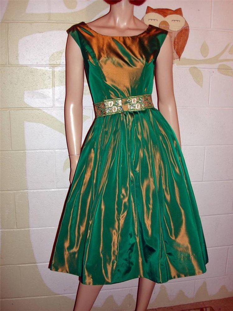 True VTG  50s New Look Green Taffeta Cocktail Party Dress Exquisite