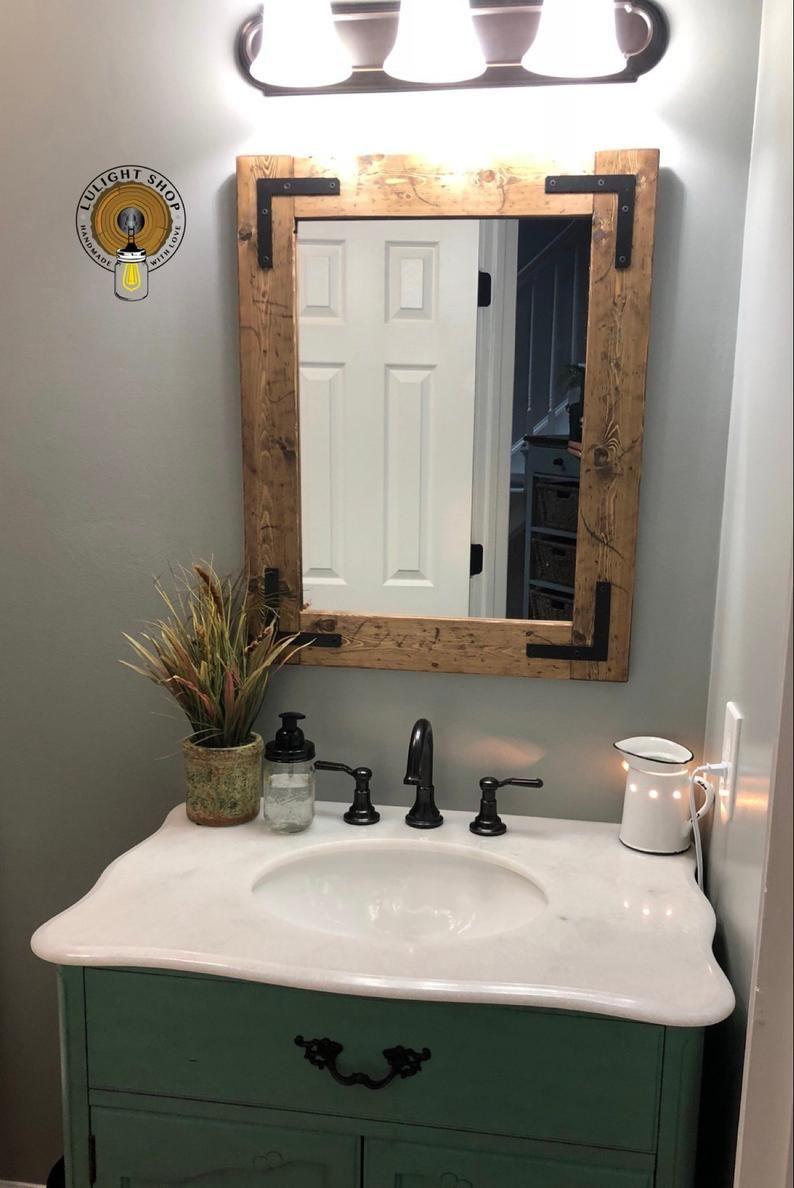 Rustic Distressed Mirror Farmhouse Mirror Wood Mirror Etsy In 2020 Bathroom Mirror Trendy Bathroom Small Bathroom