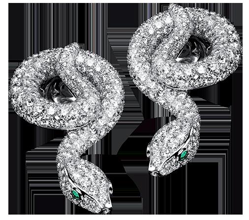 Divine Serpent Diamond Earrings in 18k white gold with diamonds and emeralds.  #tabbah #houseoftabbah