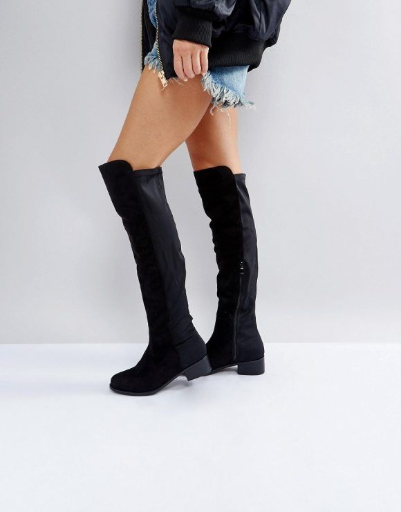 Elastic Flat Over Knee Boot by Truffle Collection. Boots by Truffle,  Textile upper, Side-zip opening, Over-the-knee design, Round toe,  Mid-height block heel ... 4f176ad9da2d