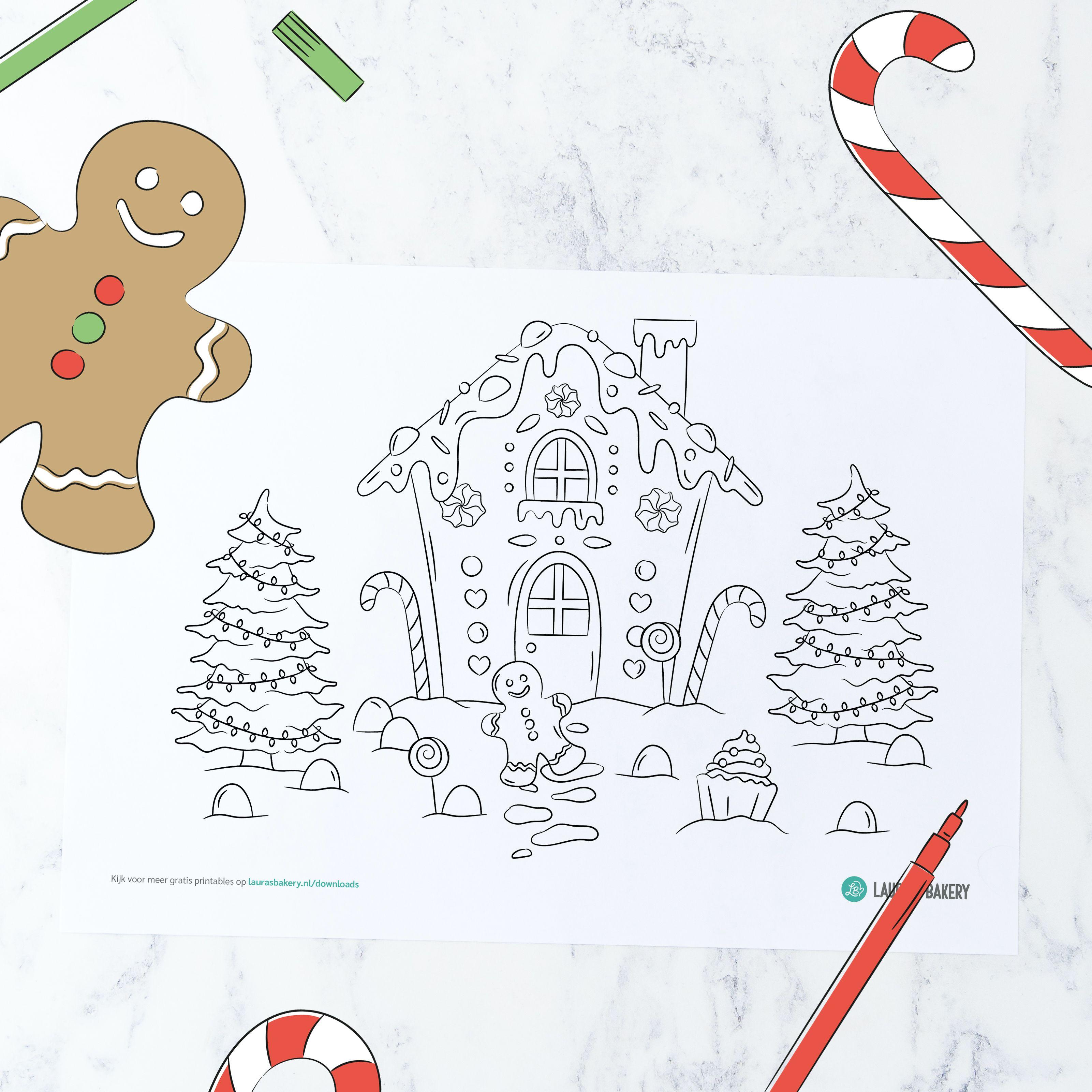 Printable Gingerbread Huis Kleurplaat Broodjes Zelfgemaakte Broodjes Kerstkoekjes