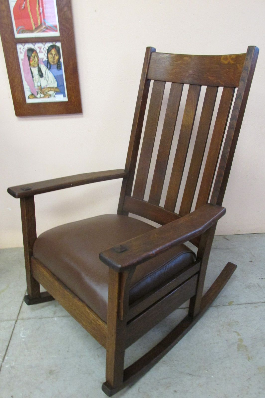 Rocking chairs morris chairs antique mission oak rocking chair - Tall Back Mission Oak Rocker Signed With A Paper Label J M Young Furniture Co