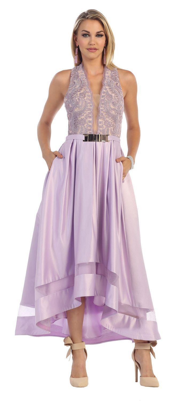 Long High Low Halter Formal Prom Dress Unique Belt