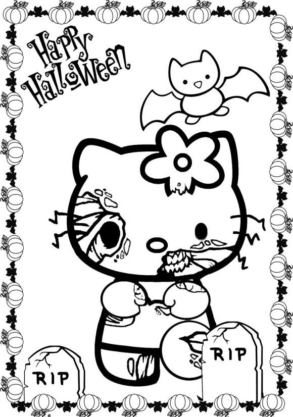 Kleurplaten Hello Kitty Halloween.Scary Halloween Hello Kitty Coloring Pages Hello Kitty