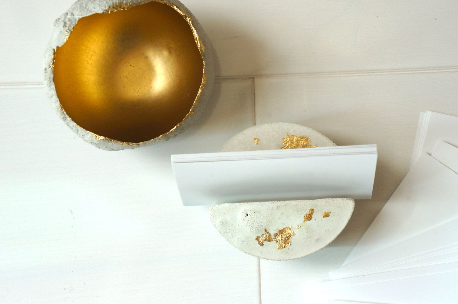 White Concrete Gold Leaf Round Business Card Holder. One of a Kind ...