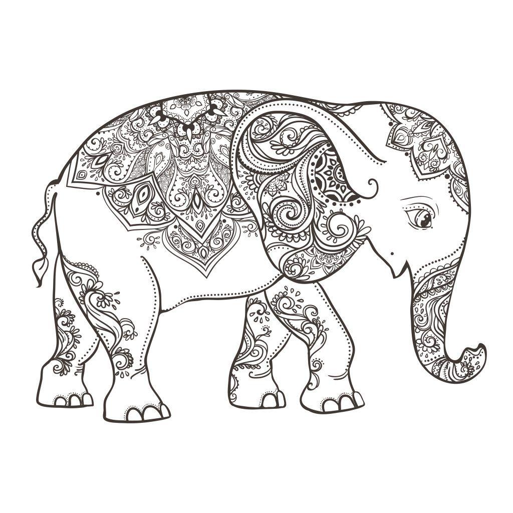 Colorear Elefantes De Mandala Elefantes Pintados Elefantes Para Colorear Mandalas Para Colorear