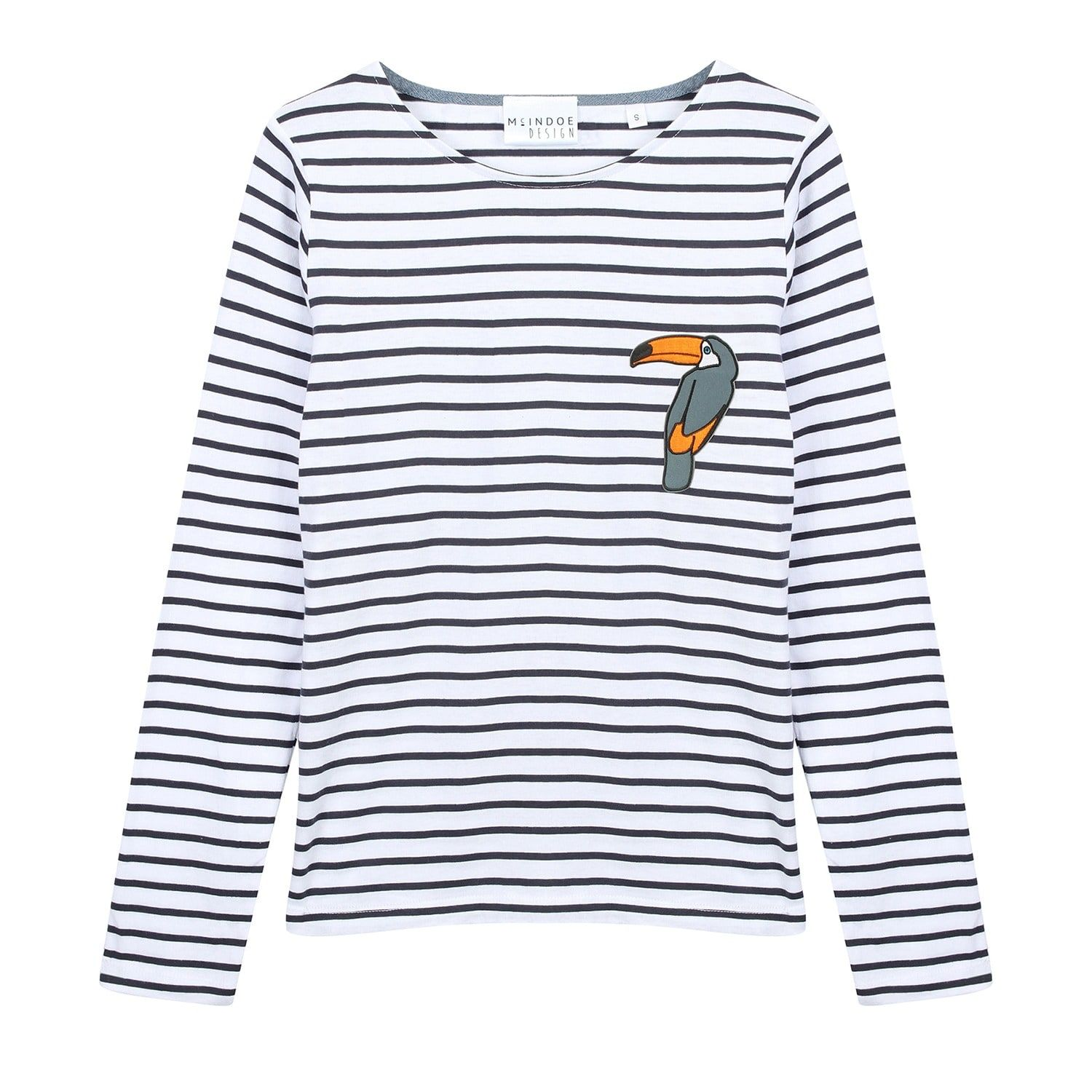 Mcindoe design toucan patch longsleeved tshirt navy and white