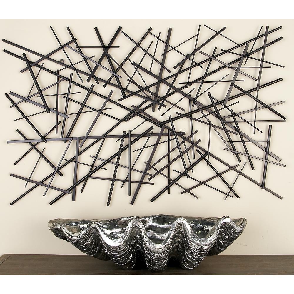Litton Lane Modern Dark Gray Abstract Iron Rod Wall Decor