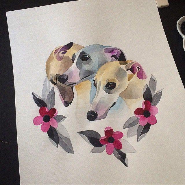 Three Cute Greyhound Dogs Tattoo Idea Best Tattoo Ideas