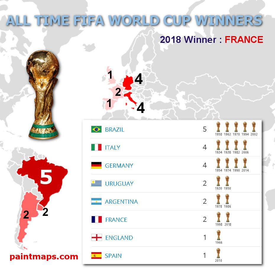 All Time Fifa World Cup Winners Paintmaps Com World Cup Winners Fifa World Cup World Cup