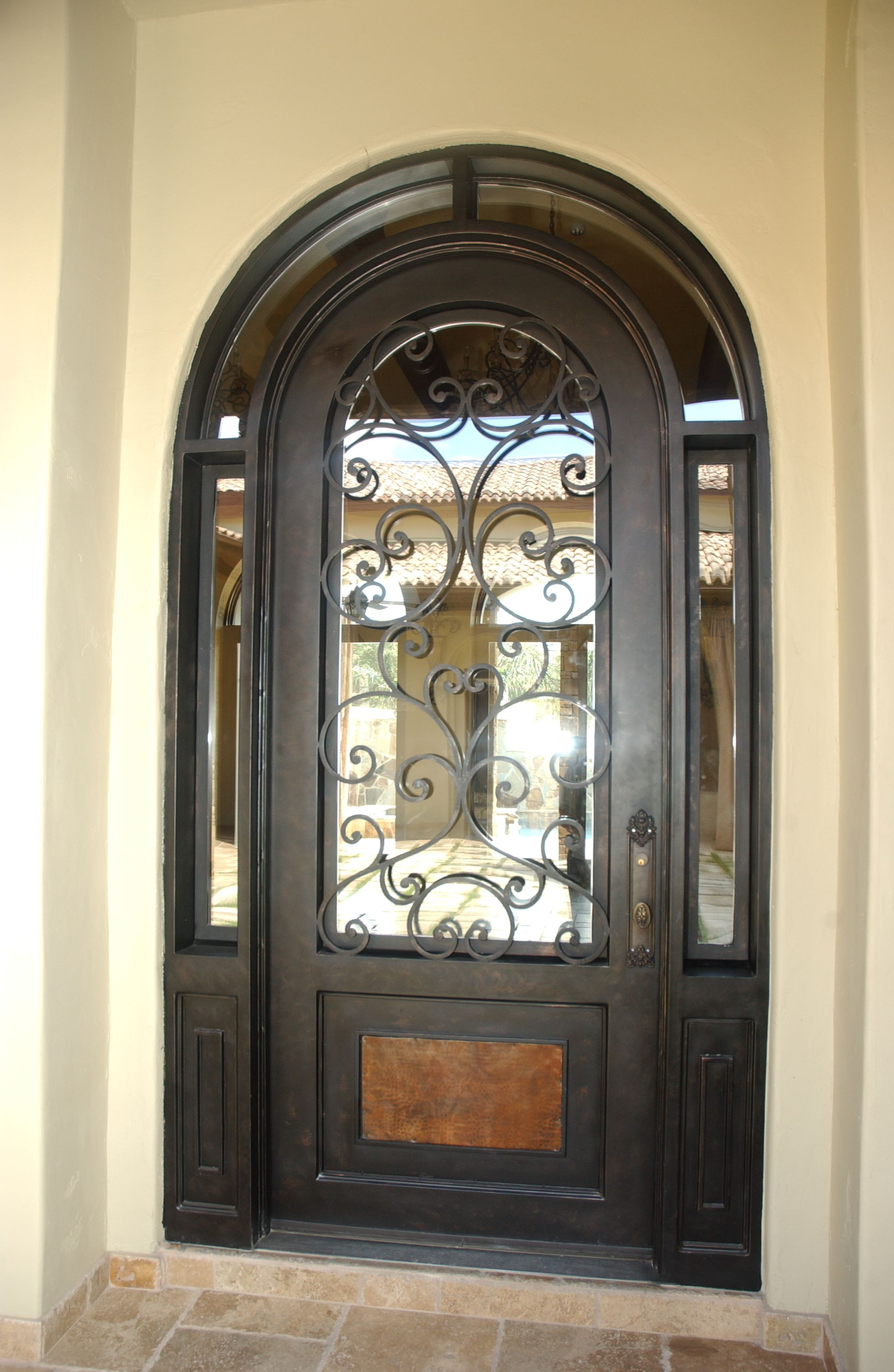 Wrought Iron Door Marbella Round Top Single With Wraparound
