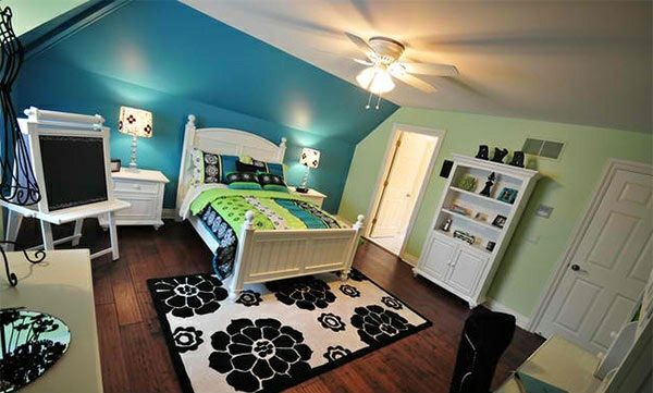 Schlafzimmer Farben Ideen  Eine Frische Farbmischung Aus Blau Und Grün