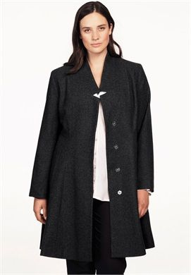 Notch Neck Fit and Flare Coat