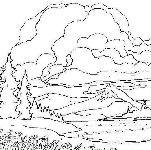 winter landscape coloring pages Google Search Landscape