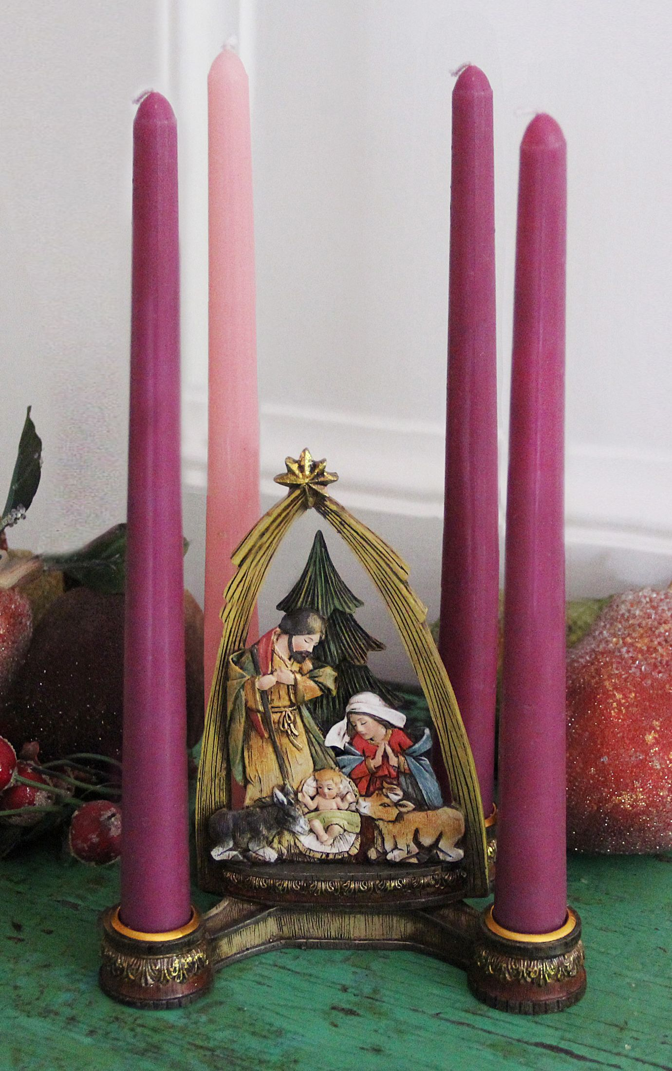 advent candleholder with nativity center seasons. Black Bedroom Furniture Sets. Home Design Ideas