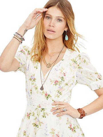 Print Dress Denimamp; Gauze Maxi Wrap Floral Supply Dresses vmn0wN8O